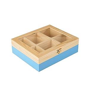 ibili 748500 Boîte à thé avec 6 Compartiments de pin Bois Brun/Bleu Clair 18 x 21,5 x 7 cm