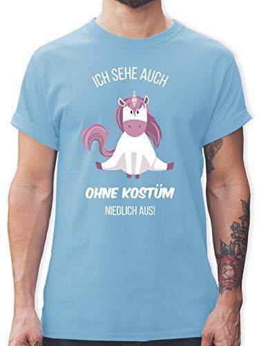 Einhörner - Ich Sehe auch ohne Kostüm niedlich aus Einhorn - XXL - Hellblau - L190 - Herren T-Shirt und Männer Tshirt
