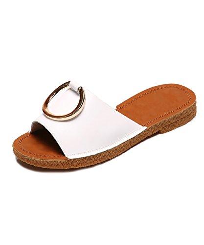 CHAOXIANG Pantofole Da Donna Antiscivolo Con tacco Ciabatte Piatte Sandali Da Surf Nuova Estate Ciabatte Spiaggia ( Colore : Bianca , dimensioni : EU35/UK3/CN35 ) Bianca