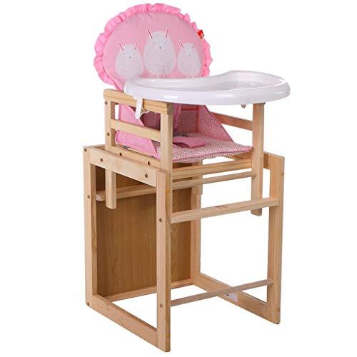 Ergonomique Chaise Haute, en Bois Chaise bébé Pliable, Multifonction de sécurité Chaise de Salle à Manger pour bébé avec Plateau de Protection de l'environnement, Poids de roulement 30kg