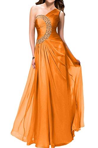 Sunvary elegante inclined-Rhinestones shoulder Fiesta ballo del vestito da sera Arancione