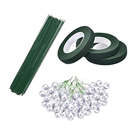SevenMye 3 Rolls 0.5 Inch Floral Tape, 50 Pieces Stem Floral Wire and 50 Pieces Wired Stems Artificial Berries for Floral Arrangement,Home Wedding Party Christmas Tree Ornaments
