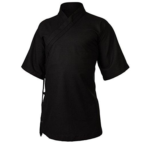 wu designs Leinen (mittel) Tai Chi Oberteil diagonaler Kragen Kurzarm - Taiji Shirt - Tai Chi Anzug - Kung Fu - Wushu - schwarz - 175