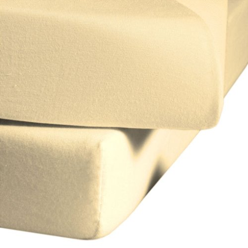 fleuresse Jenny C klassisches Jersey-Spannlaken, 100% Baumwolle, mit praktischem Rundumgummi, Fb. Vanille, Größe 120 x 200 cm, auch passend für 110/130 x 200