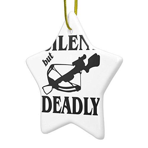 Lustige Weihnachts-Ornamente für Kinder, Silent but Deadly Armbrust Jagd Keramik Ornament Stern Urlaub Baum Ornamente Dekoration Weihnachten Geschenke
