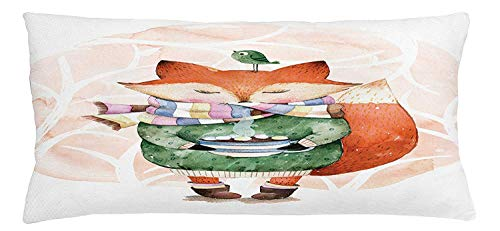 Animal Throw Pillow Cushion Cover, Cute Little Fox and Bird on His Head Tea Time Kids Nursery Friends Baby Theme, Decorative Square Accent Pillow Case, 18 X 18 inches, Green Orange -