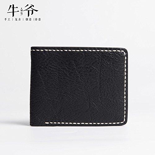 Handgefertigte retro Kurze layer Lederetui für Männer horizontale Tasche, tiefen Kaffee Black