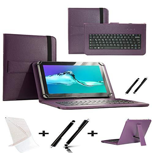 Starterset Schutzhülle für Acer Iconia Tab 10 A3-A40-10.1 Zoll (25,7 cm), QWERTY-Tastatur, inkl. Displayschutzfolie und Eingabestift, Violett