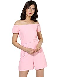 Besiva Women's Off Shoulder Playsuit With Belt