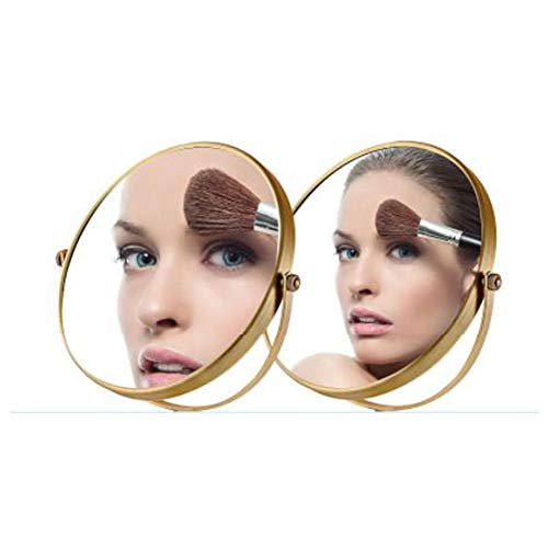 3X Desktop Kosmetikspiegel Kupfer antike europäische Kosmetikspiegel doppelseitig dreifache Vergrößerung Spiegel Gold 8 Zoll20cm Spiegel