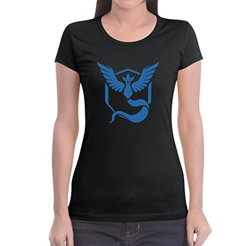 Go Team Blau Team Mystic Logo Frauen T-Shirt Slim Fit Medium Schwarz (Damen-team-logo-t-shirt Blaue)