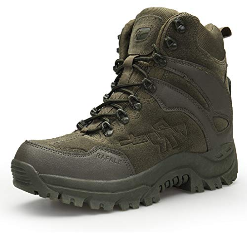 Stiefel Herren Wanderschuhe Damen Trekkingschuhe Armee Combat Tactical Boots Verschleißfest Rutschfeste Outdoor Einsatzstiefel Für Maenner Frauen, Grün, 39 EU