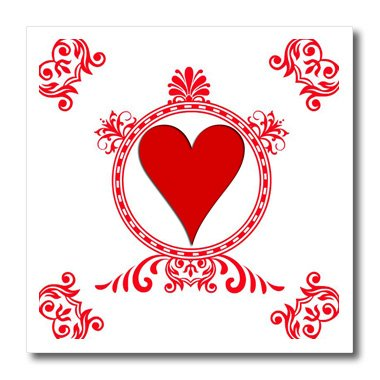 3dRose Ace of Hearts. Playing Cards. Poker. White and black. Popular image.-Iron on Heat Transfer, 8 by 8