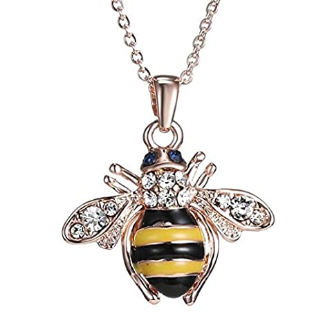 erthome 40cm+5cm Bee Rose Gold Pendant Necklace Elements Crystal Necklaces For Women