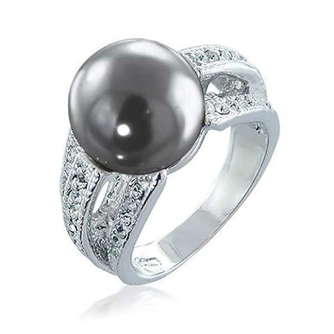 Bling Jewelry Ouvrir CZ Bague Cocktail Gris Perle simulé plaquée Rhodium