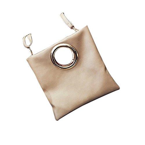 Fami Le donne dell'anello del metallo della busta Sacchetto piegante spalla della frizione Messenger Bag B