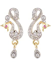 SKN Silver And Golden American Diamond Dangle & Drop Peacock Stud Earrings For Women & Girls (SKN-1314)