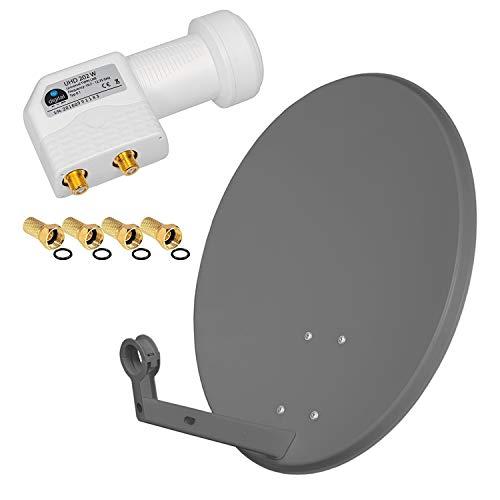 HB Digital SAT Anlage 60cm Spiegel Schüssel Anthrazit + Twin LNB 2 Teilnehmer zum Empfang von DVB-S/S2 Full HD 3D 4K Ultra HD (UHD) Signale + Stecker Gratis dazu im Set