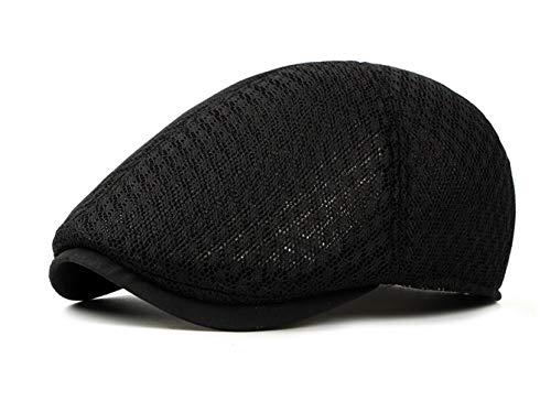 CHENNUO Schiebermütze Flatcap Herren Sommer Schirmmützen Atmungsaktive Kappe Cabbie Hut (Schwarz)