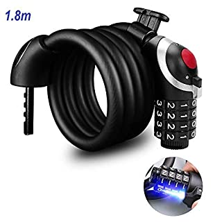 Jhua LED Bike Lock Security Combination Cable 180cm Length Bicycle Locks Heavy Duty Chain Lock 4 Digital Ressetable Number for Scooter, Stroller, Gate, Outdoors