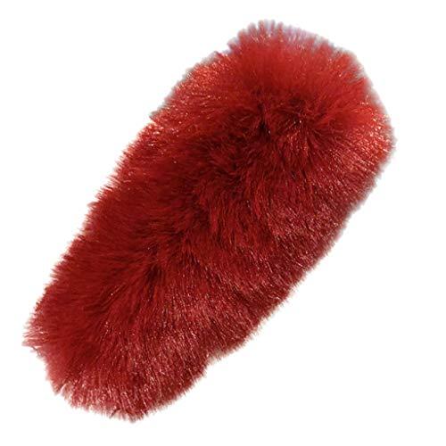 CANDLLY Haarspange Damen, Kopfbedeckung Zubehör Sommer Einfarbig Pelz Entenschnabelclip Niedlich Super Niedlich Einfarbig Behaarte Klammern Wilde Haarspangen Kopfbedeckung (Rot,One size)