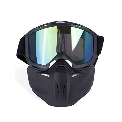 DOLOVE Vintage Motorradbrille Motocross Brille Winddicht Damen Herren Schutzbrille für Brillenträger Grün Lens