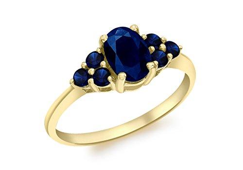 Carissima Gold Damen-Ring 9 k (375) Gelbgold Ovalschliff Saphir 56 (17.8)