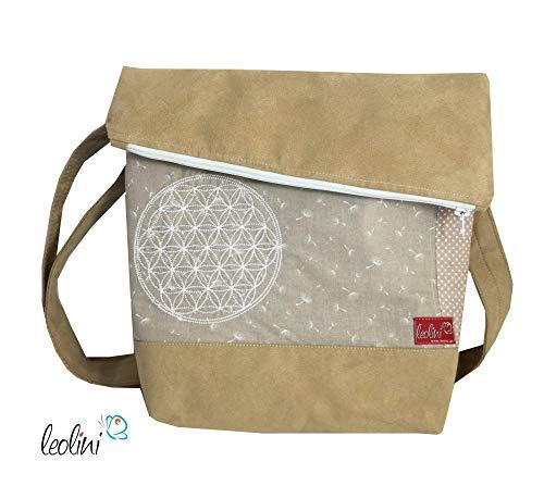 Foldover Tasche Blume des Lebens Stickerei handmade Geschenk Damen