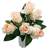 Especificación del empaque: 6 ramos de flores, cada rosa mide 32cm de largo, la cabeza de la flor mide 5cm de diámetro y la longitud de la hoja es de 7cm. Ramo de rosas artificiales, fáciles de mezclar con otras flores falsas o recolectar múl...