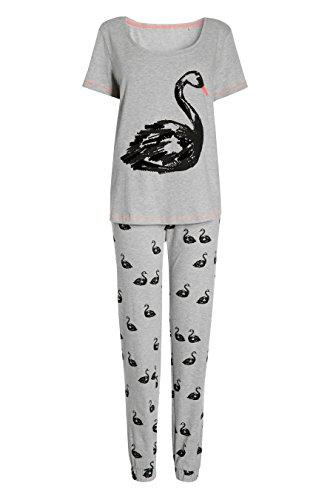 next Femme Petite Fit Pyjama Avec Imprimé Cygne Gris