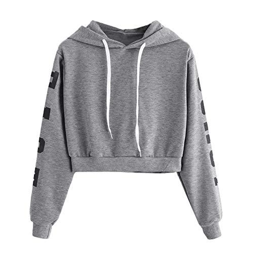 YEBIRAL Damen Hoodie Mädchen Kapuzenpulli Briefdruck Bauchfrei Pullover Oberteile Kurz Sport Crop Tops Sweater Sweatshirt Sweatjacke (Grau, S) -