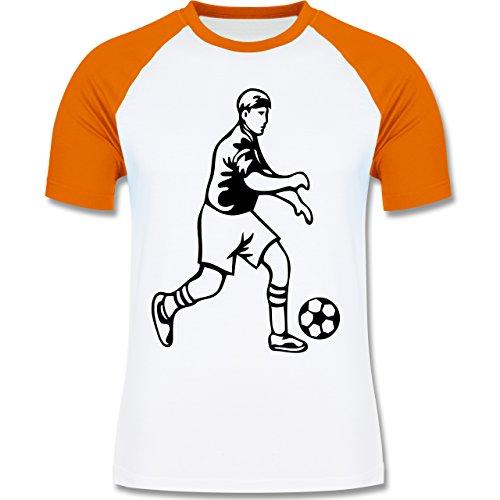 Fußball - Fußball - zweifarbiges Baseballshirt für Männer Weiß/Orange