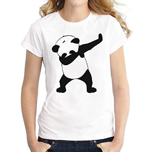 dbb9b7c5925d Hip Pop Panda T Shirt Camisa Mujer Moda Camiseta Polo Manga Corta Impresión  Blusas tee Blanco XXL