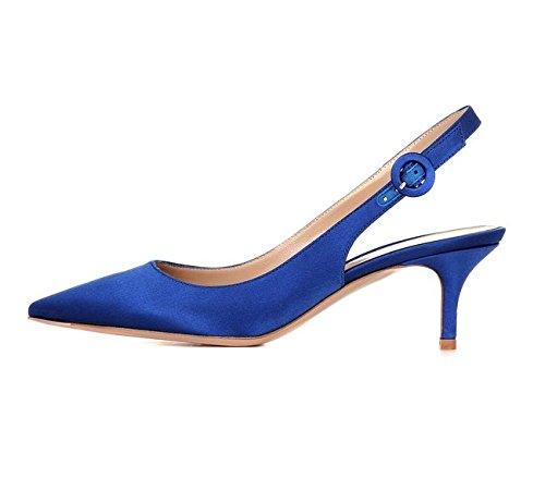 EDEFS Damen Slingback Pumps Spitze Zehen Low Heel Satin Schuhe Blau Größe EU39 -