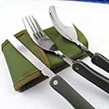 1Pc Camping Dishes Titanium Camping Cookware Folding Knife Spoon Fork Uils For Picnic