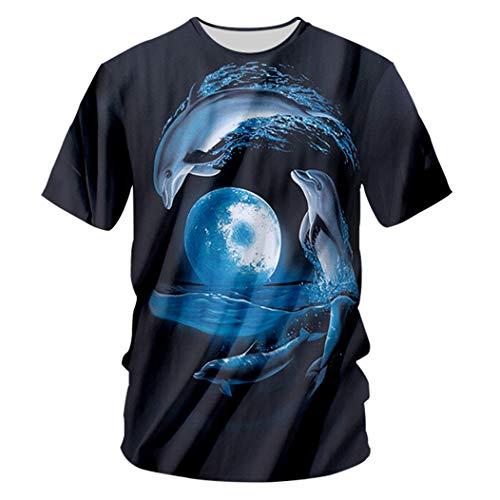 E.Rirevce Mann Sommer Tier Ozean Muster 3D gedruckt interessante Mond und Puffer Fisch schöne Unisex O Neck Tshirt Puffer Fish 6XL