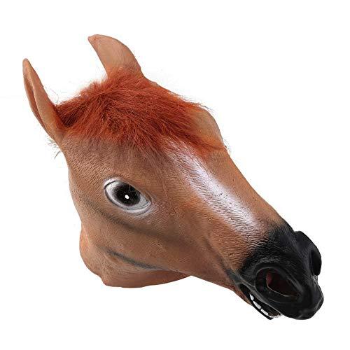 Hellbraun Lustige Tier Cosplay Halloween-Pferdekopf-Maske aus Latex Animal Zoo-Partei-Kostüm-Stütze Spielzeug Novel Prop Neuheit Latex (Lustige Pferdekopf Kostüm)