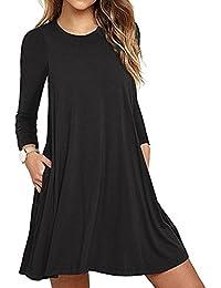 SHOBDW Moda mujer bolsillo manga larga casual loose camiseta vestido de fiesta de noche