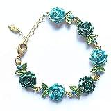JOYfree Flower National Style Armband Lady Vintage Handkette Mit Handgemachten DIY Schmuck Für Frauen Und Mädchen Urlaub Schmuck, Blau