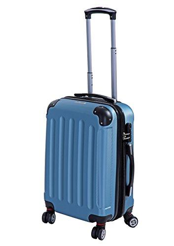 P-Collection Koffer Trolley Handgepäck Reisekoffer Hartschalenkoffer Zwillingsrollen M-L-XL-Set Dehnungsfuge 5 Farben (Blau Größe M)