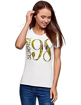 oodji Ultra Mujer Camiseta de Algodón con Inscripción y Parte Inferior no Acabada