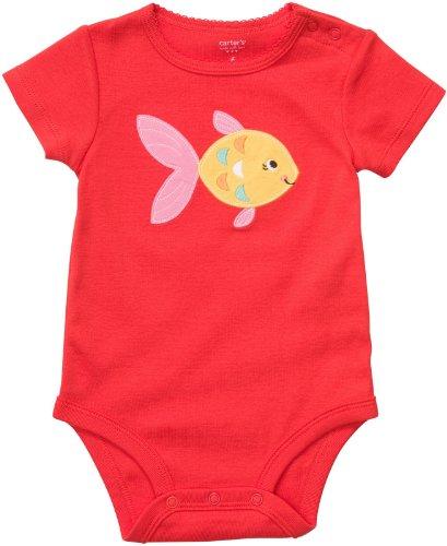 Carter's Body Gr. 80/86 Spruch Fisch US SIZE 24 month girl onesie rot Mädchen Unterwäsche Baby (Carters-bodys Mädchen)