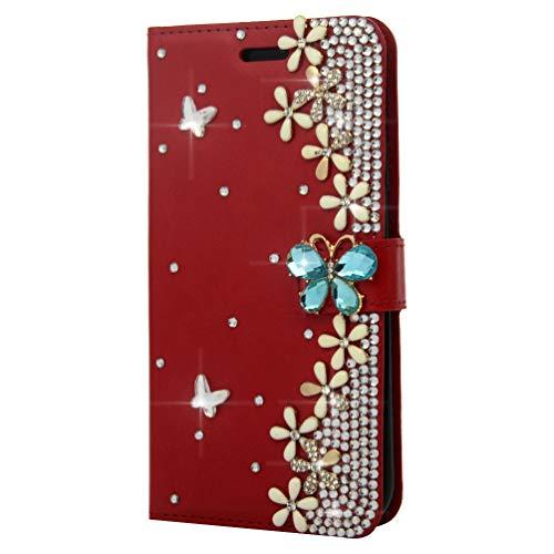 Mlorras iPhone XR Hülle, PU Leder Klappbares Magnetverschluß Handyhülle Schutzhülle für iPhone XR 6.1 inch Klappen mit Integrierten Kartensteckplätzen Diamant-Schmetterling rot