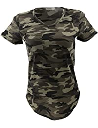 Femmes Blouse Casual Col-V Tops T-shirt à Manches Courtes Motif Camouflage Militaire - Vert Armée, S