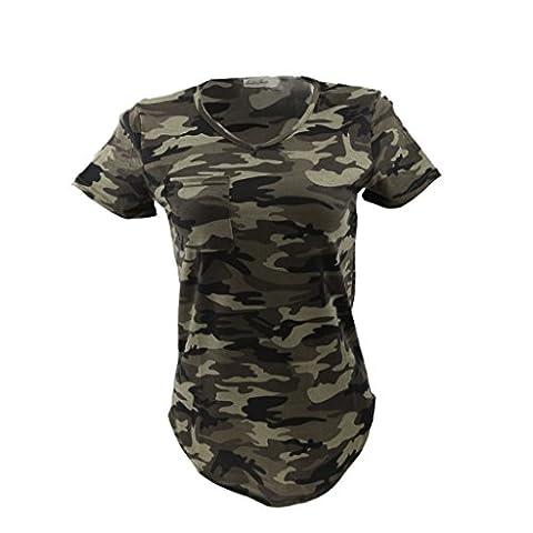 Femmes Blouse Casual Col-V Tops T-shirt à Manches Courtes Motif Camouflage Militaire - Vert Armée, M