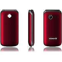 Teléfono móvil gratis baratos Easy Comfort teléfono móvil para la tercera edad, VKWorld Z2 160 Flip Rotación Dual SIM 64Mb + 64Mb 800mAh 0.3MP Multi-idioma (rojo)