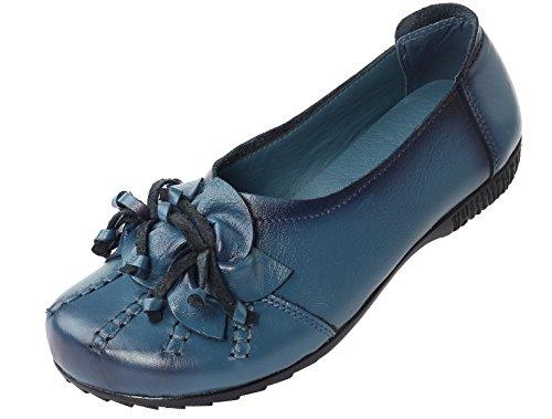 Vogstyle Damen Frühjahr/Sommer Neu Vintage Handgefertigte Große Blume Leder Flache Schuhe Art 2 Blau EU41/CH42 (Schuhe Flache Leder)