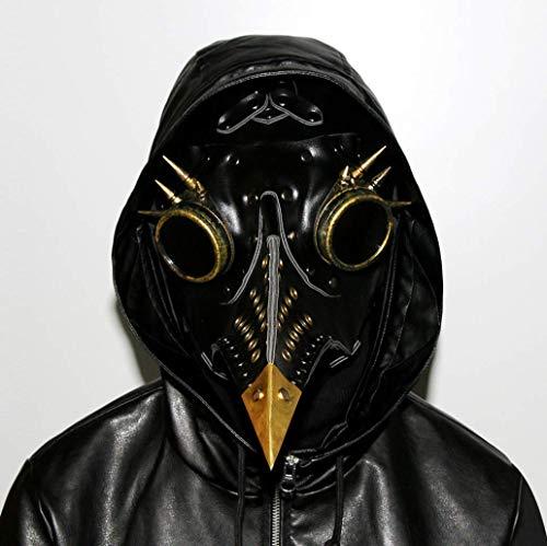 WFTD Steampunk Maske Pest Doktor Schnabel Doktor Maske, PU Leder Plus Metall Gotische Cosplay Requisiten Retro Rock Halloween Party ()