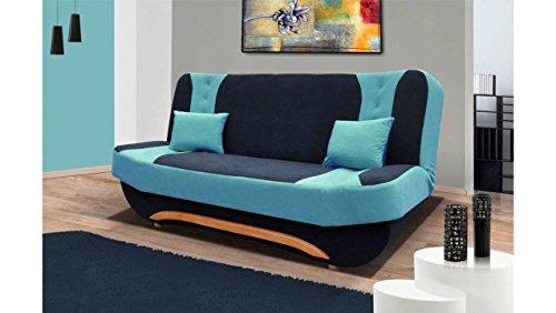JUSTyou Eva II Sofá-Cama Sofá Microfibra Negro Azul