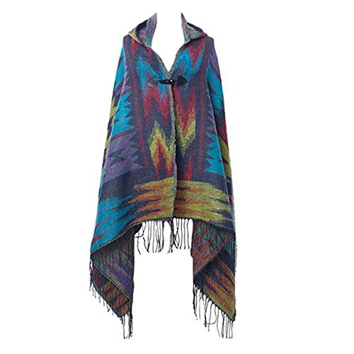MeiPing Poncho Mujer Cardigan Punto Capa Bloques Colores